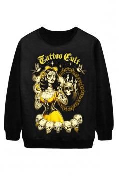 Black Cool Ladies Tattooed Witch Printed Jumper Halloween Sweatshirt