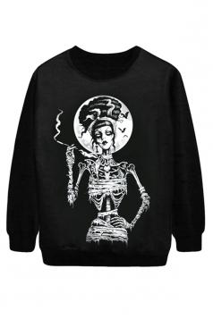 Black Cool Ladies Smoke Skeleton Printed Jumper Halloween Sweatshirt