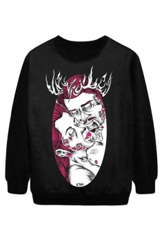 Black Chic Womens Zombie Couple Printed Pullover Halloween Sweatshirt