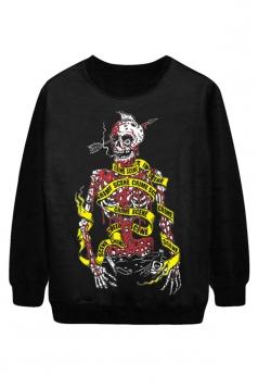 Black Chic Womens Blood Skeleton Printed Jumper Halloween Sweatshirt