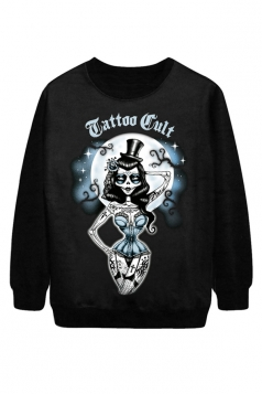Black Pretty Tattooed Witch Printed Pullover Halloween Sweatshirt