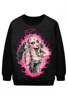 Black Cool Womens Wings Evil Printed Pullover Halloween Sweatshirt