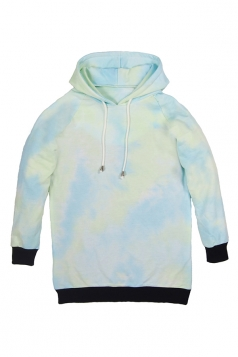 Turquoise Womens Chic Abstract Bandhnu Printed Pullover Hoodie