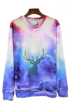 Blue Cool Deer Printed Womens Fancy Jumper Galaxy Sweatshirt