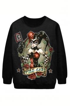 Black Pullover Womens Cool Beauty Printed Halloween Sweatshirt
