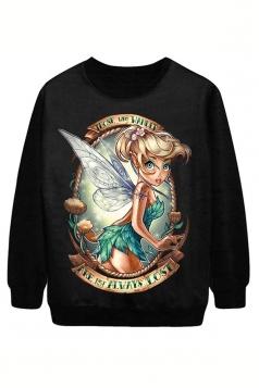 Black Tinkerbell Printed Halloween Pullover Ladies Chic Sweatshirt