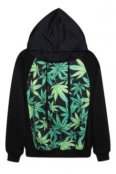 Black Womens Harajuku Style Weed Print Sweatshirt Printed Hoodie
