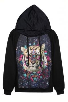 Black Colorful Tiger Printed Womens Long Sleeves Pullover Hoodie