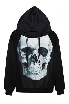 Black Womens Cool Skull Printed Halloween Hoodie