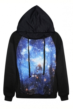 Black Classic Womens Galaxy Printed Long Sleeves Hoodie