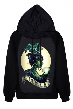 Black Ladies Halloween World Witchery Printed Unique Pullover Hoodie