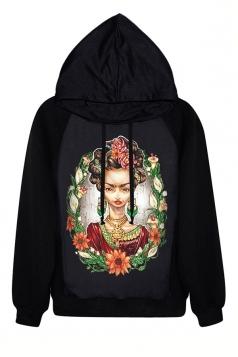Black Modest Long Sleeves Womens Printed Pullover Halloween Hoodie