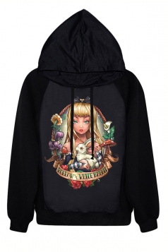 Black Long Sleeves Wonderland Alice Printed Ladies Halloween Hoodie