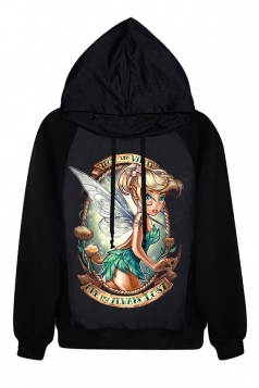 Black Chic Tinkerbell Printed Halloween Pullover Ladies Hoodie
