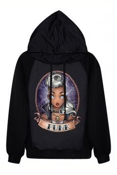 Black Halloween Ladies PUNK Pinup Printed Pullover Hoodie