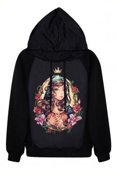 Black Jumper Fashion Womens Princesses Printed Hoodie