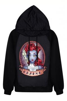 Black Halloween Pullover Ladies Principesse Tatuate Printed Hoodie