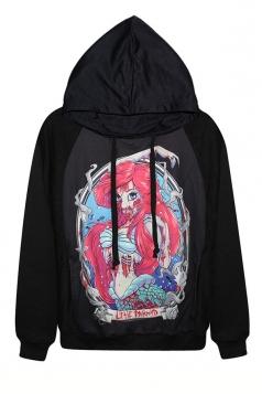 Black Horror The Little Mermaid Long Sleeves Halloween Hoodie