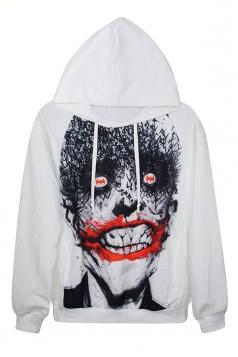 White Ladies Scary Ghost Face Printed Pullover Long Sleeves Hoodie