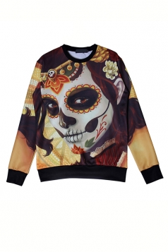 Khaki Cool Womens Clown Printed Pullover Halloween Sweatshirt