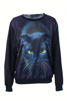 Black Modern Womens Cat Printed Pullover Halloween Sweatshirt