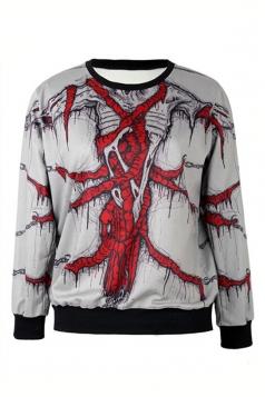 Beige Ladies Skeleton Printed Crew Neck Pullover Halloween Sweatshirt