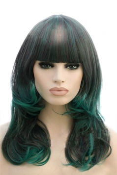 Green Cosplay Ladies Long Curly Chic Wig