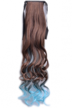 Blue Gradient Womens Long Curly Ponytail Wig