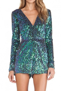 Turquoise V Neck Sexy Womens Long Sleeves Sequins Romper