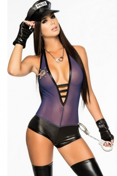 Purple Cool Ladies Halloween Lingerie See Through Cop Costume