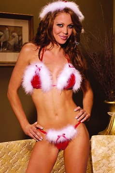 Red Chic Womens Bikini Fringed Halter Christmas Lingerie