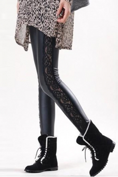 Black Cool Ladies Faux Leather Patchwork Sheer Lace Leggings