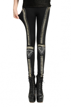 Black Cool Womens Fit Rivet Lined Velvet Leggings