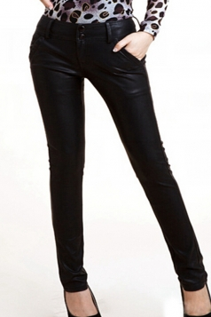 Black Cool Ladies Faux Leather Button Sliming Leather Leggings