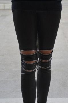 Black Sexy Ladies Faux Leather Zip Leather Leggings