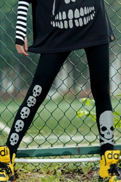 Black Cool Ladies Reflective Skull Printed Designer Leggings