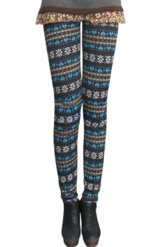 Blue Hearts Cute Snowflake Lades Lined Sweater Leggings