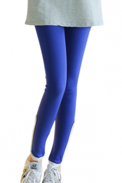Blue Ladies Sexy Zipper Modest Velvet Leggings
