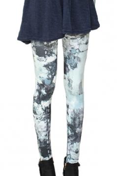 Black Abstract View Printed Chic Ladies Leggings