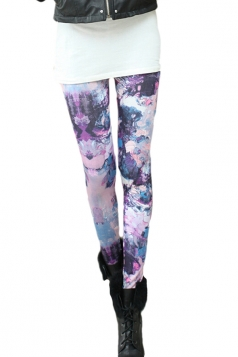 Purple Chic Abstract Art Printed Womens Leggings