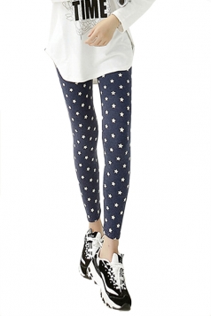 Navy Blue Modest Lades Stars Printed Cute Leggings