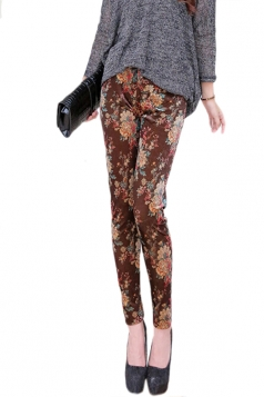 Coffee Vintage Floral Printed Ladies Pleuche Leggings