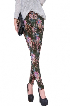 Green Vintage Floral Printed Ladies Pleuche Leggings
