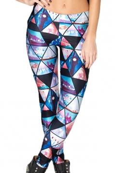 Blue Colorful Argyle Printed Womens Casual Leggings