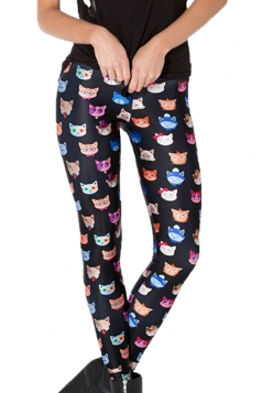 Black Cute Ladies Colorful Cats Printed Unique Leggings