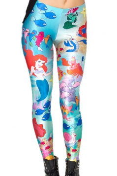 Blue Fancy Ladies The Little Mermaid Printed Chic Leggings