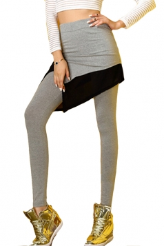Gray and Black Cool Ladies Modal Cotton Slit Irregular Skort