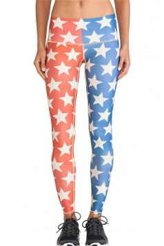 Red Cool Ladies Stars Printed Color Block Flag Leggings