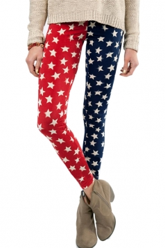 Red Cool Ladies US Stars Printed Color Block Flag Leggings