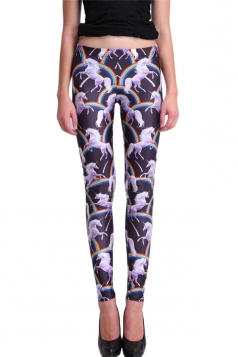 Black Sexy Ladies Unicorn Rainbow Slimming Animal Print Leggings